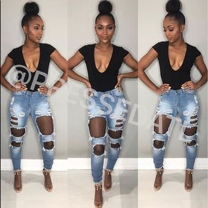 Distressed Fishnet Jeans Pressed ATL